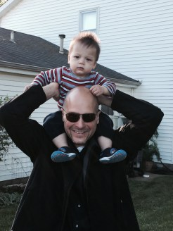 1 year old Peter on Papa's shoulders
