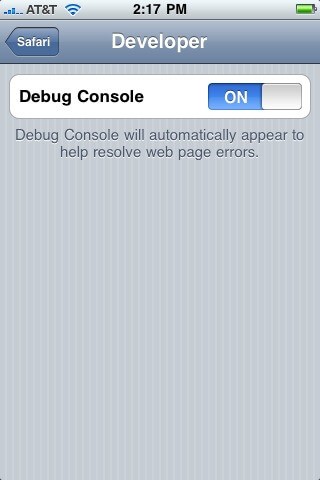 debug console iphone - How to Make an HTML5 iPhone App