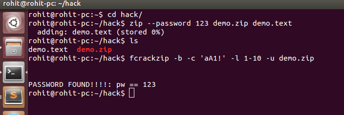 Crack zip file password using fcrackzip tool in ubuntu