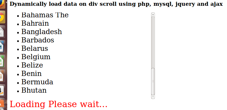 Dynamically load data on div scroll using php, mysql, jquery and ajax
