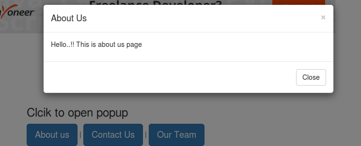 Create dynamic content popup using bootstrap modal and jquery