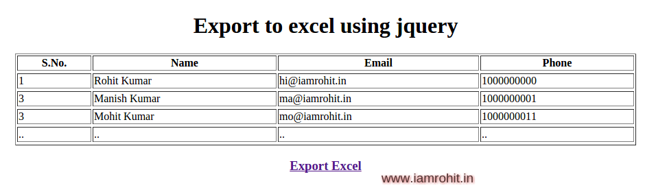 export-to-excel-jquery