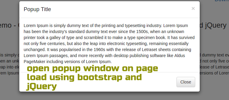 How to open popup window on page load using bootstrap and