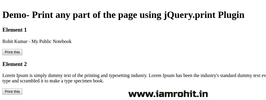 Print any part of the page using jQuery print Plugin