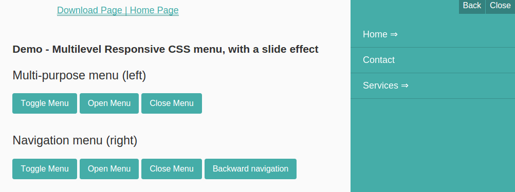 Create Multilevel Responsive CSS menu, with a slide effect
