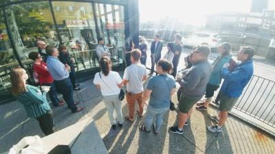 Group shot at beginning of walk (305 King St. W)