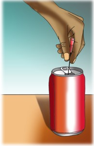 Hypodermic needle in drinks can