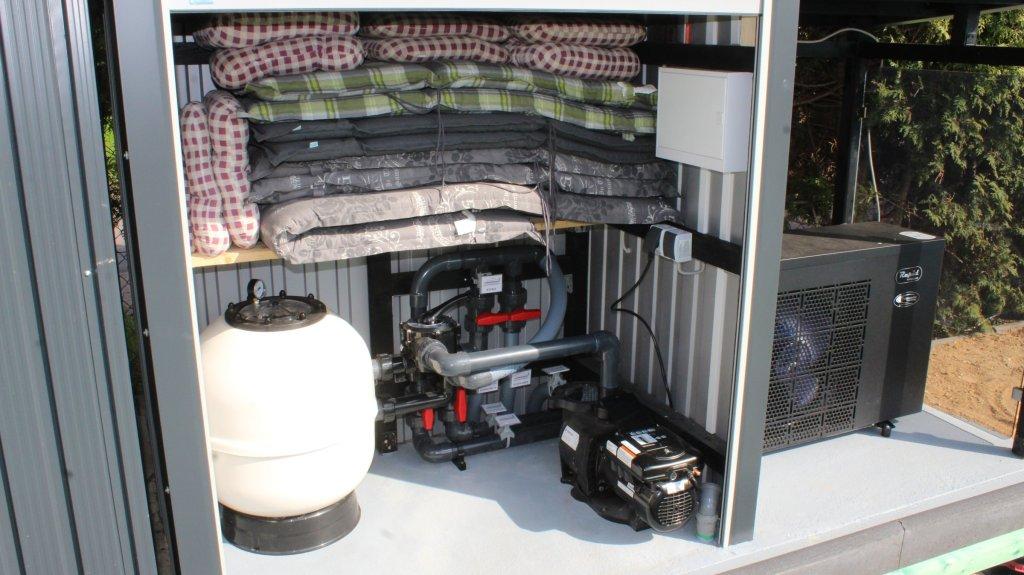 Poolpumpe Installation mit Wärmepumpe