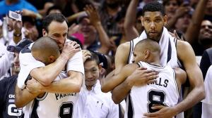 Duncan, Ginobili, Parker and Mills. Closeness comes with humility and true teamwork. (Click to enlarge or to source).