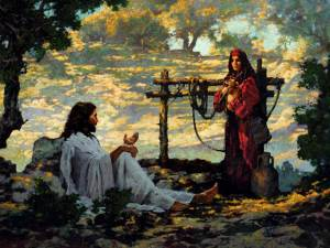 Jesus engages with a disreputable Samaritan woman……a double no-no (click to enlarge or to source).