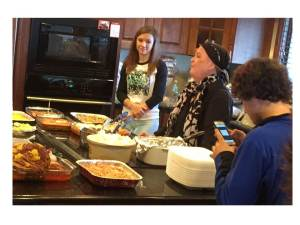 Staci with Kara and Jaden at Thanksgiving. A sumptuous meal prepared by Staci with assists by other family members (click to enlarge).