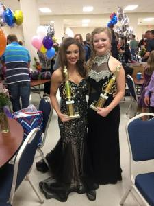 Kara and Kennedy with their trophies: Miss Beauty and Miss Personality (click to enlarge then back-arrow to return to blog).
