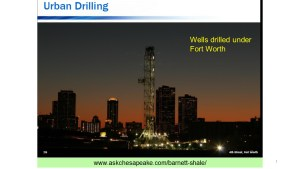 Drilling rig in Forth Worth city (click to enlarge or to source, then back-arrow to return to blog).