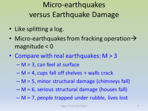 Degree of danger for earthquakes (click to enlarge, then back-arrow to return to blog). A fracking operation for a production well produces only micro-earthquakes that have no effect at the surface