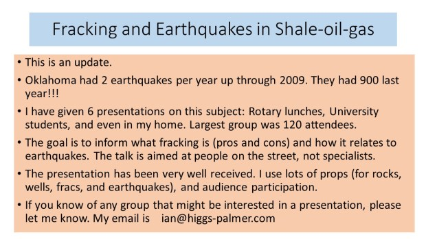 More information on Fracking and Earthquakes is contained in a good summary by Jessica Pacheco Semenyuk. Click on the image above.