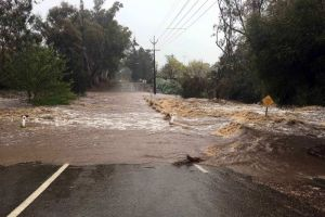 Floodwaters cross the road in the mid-north of South Australia. Up to 4 inches of rain fell in some places – a lot for this dry state (click to enlarge or to source, then back-arrow to return to blog article).