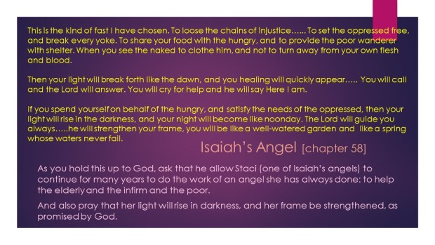 Excerpt from the book of Isaiah, chapter 58. Click to enlarge, then back-arrow to return to blog article.