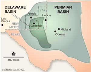 Carlsbad is near the middle of the Delaware basin in New Mexico.