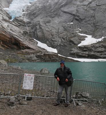 Ian Hardacre with the Birksdal Glacier