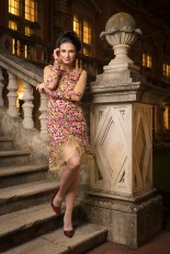 Lacry's stunning cocktail dress looking fab in the quadrangle at Royal Holloway
