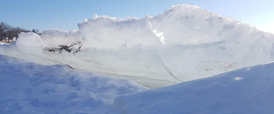Water rising skywards in frozen form. Very odd!