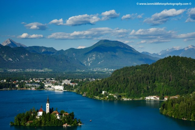View across Lake Bled to the island church from Ojstrica, Slovenia.