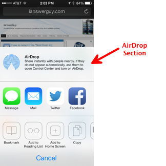 AirDrop Section