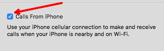 Calls from iPhone on Mac