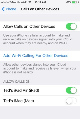 Add Wi-Fi Calling Devices