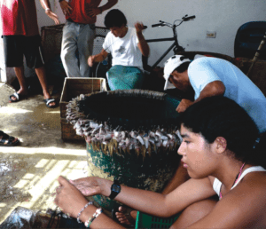 Members of the Tarcoles cooperative working on their artisanal fishing nets. Photo and copyright: Vivienne Solis Rivera, CoopeSoliDar R.L. Associates