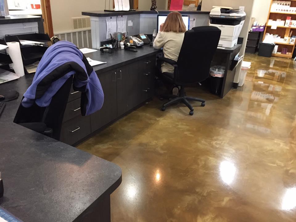 behind reception desk