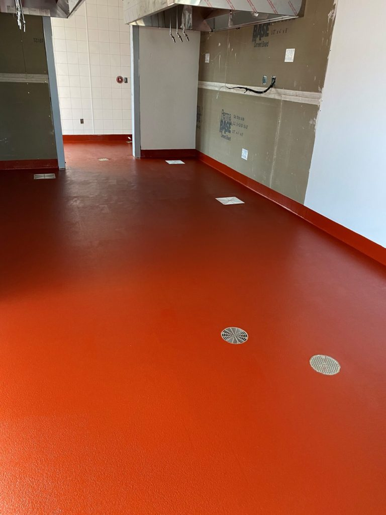 Urethane concrete, commercial kitchen, commercial kitchen flooring, epoxy floors FayettevilleAR, TeamIA, Industrial Applications Inc., IA30yrs
