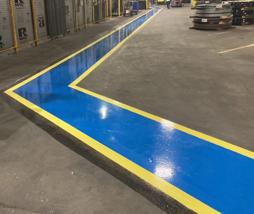Safety striping, industrial safety, pedestrian walkways in manufacturing, epoxy floor markings, 5S, TeamIA, Industrial Applications Inc, epoxy flooring solutions, flooring contractors Memphis TN, Memphis TN
