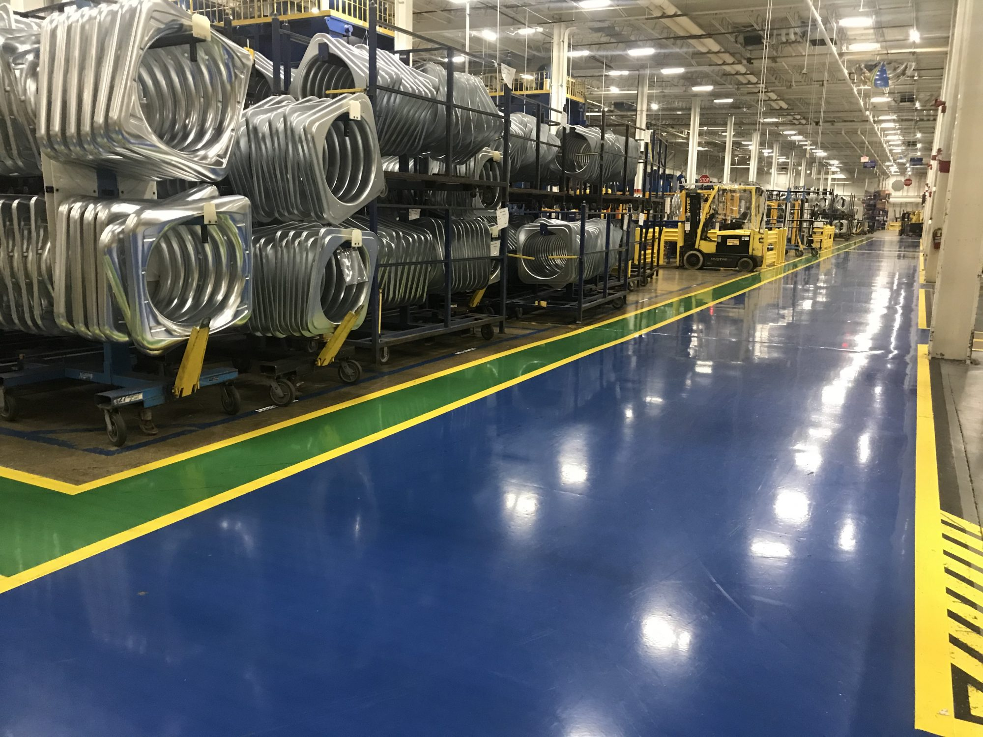 epoxy mortar overlay, manufacturing floor coatings, safety striping, aisle striping, epoxy floor coatings