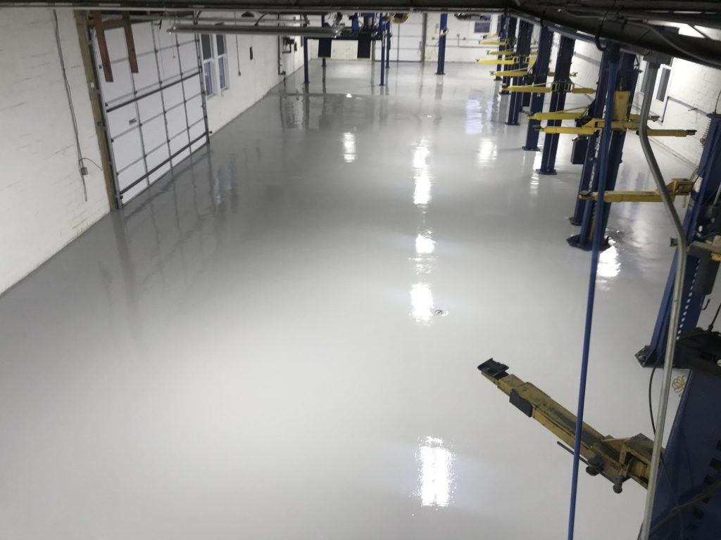auto dealership repair area, auto repair, automotive repair, epoxy floor coatings