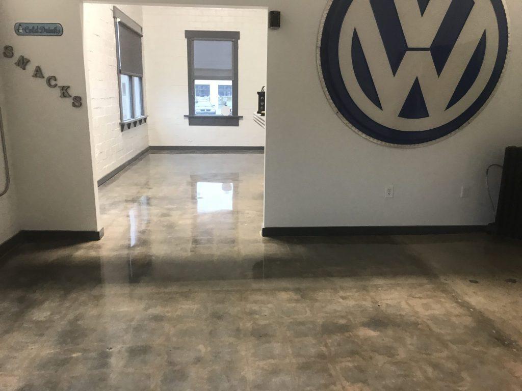 polished concrete, commercial office, VW dealership, car dealership
