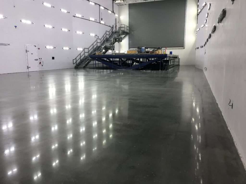 polished concrete, airplane hangar,
