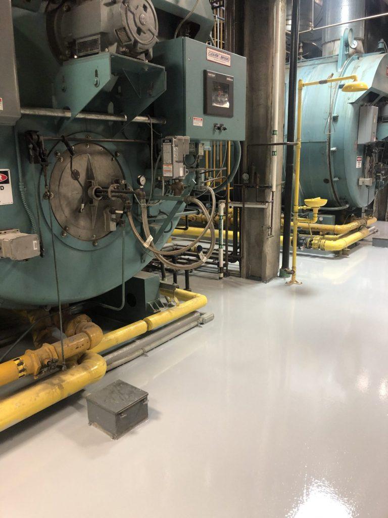 epoxy floor coatings. Epoxy Urethane, Concrete crack repair, IndustrialApplicationsInc, IA30yrs, boiler room floors, energy plant floors