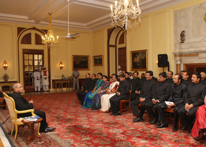 The President, Shri Pranab Mukherjee interacting with the Civil Service Officers promoted to IAS from Lal Bahadur Shastri National Academy of Administration