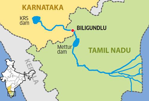 Image result for Cauvery river inter-state Biligundlu dam.