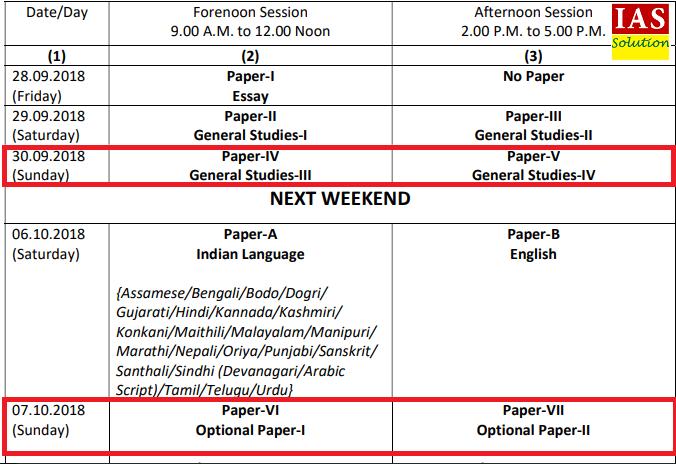 UPSC 2018 Mains Timetable
