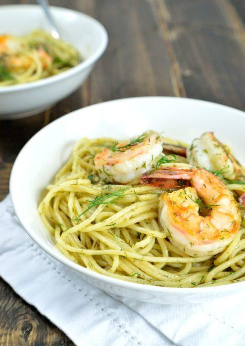 spaghetti shrimp dill butter 2