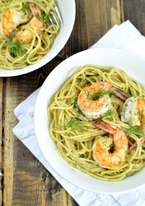 spaghetti shrimp dill butter 3