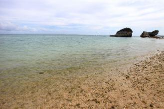 サンゴのかけらが打ち上げられた砂浜