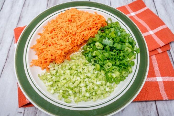 Hawaiian macaroni salad ingredients include vegetables, apple cider vinegar, milk, and mayo