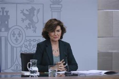 Carmen Calvo en la rueda de prensa posterior al Consejo de Ministros