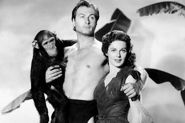 Johnny Weissmuller, el chimpancé ´Chita´ y Maureen O´Sullivan durante el rodaje de la película Tarzán