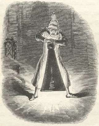Scrooge Extinguishes the First of the Three Spirits