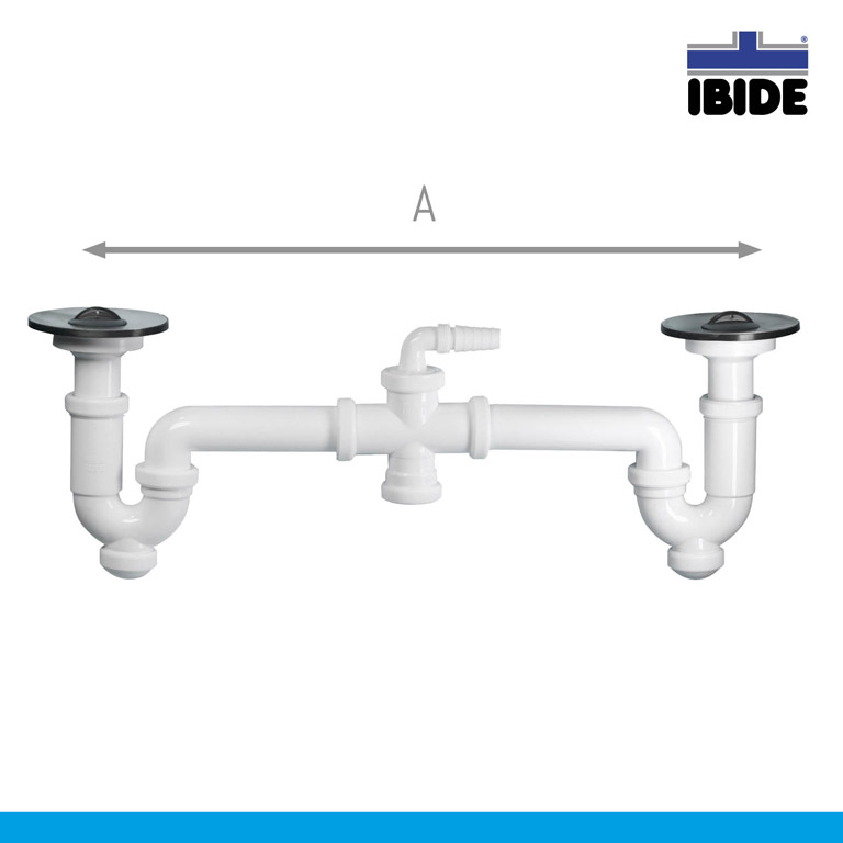 double p trap with double sink valve o115 mm and washing machine inlet vertical outlet