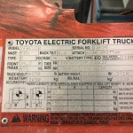 Toyota Electric Forklift Name Plate